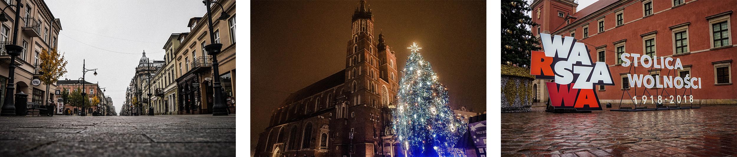 Łódź, Kraków, Warszawa